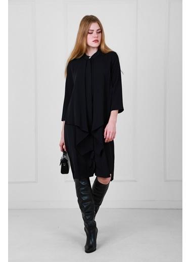 JEANNE D'ARC Truvakar Kol Önden Düğmeli Salaşe Elbise  Siyah